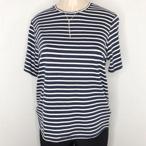 ZARA Navy Blue & White Striped Short Sleeve Tee M